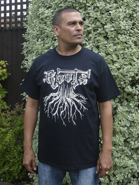 Roots T-Shirt, white print on black 100% cotton shirt. Big shout out to Selekta Gold from Reality Souljahs for the shots and product endorsement.\\n\\n17/07/2014 10:07